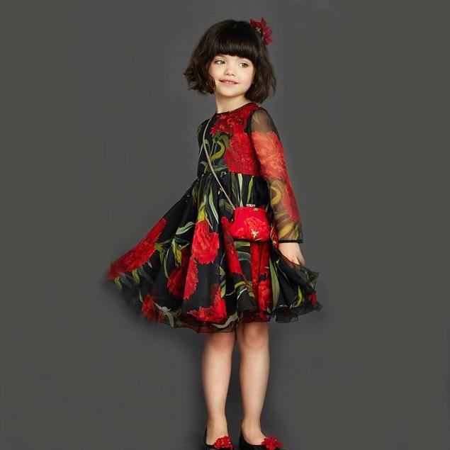 floral girl summer dresses 2015 chiffon dress girls size 10 12 ...