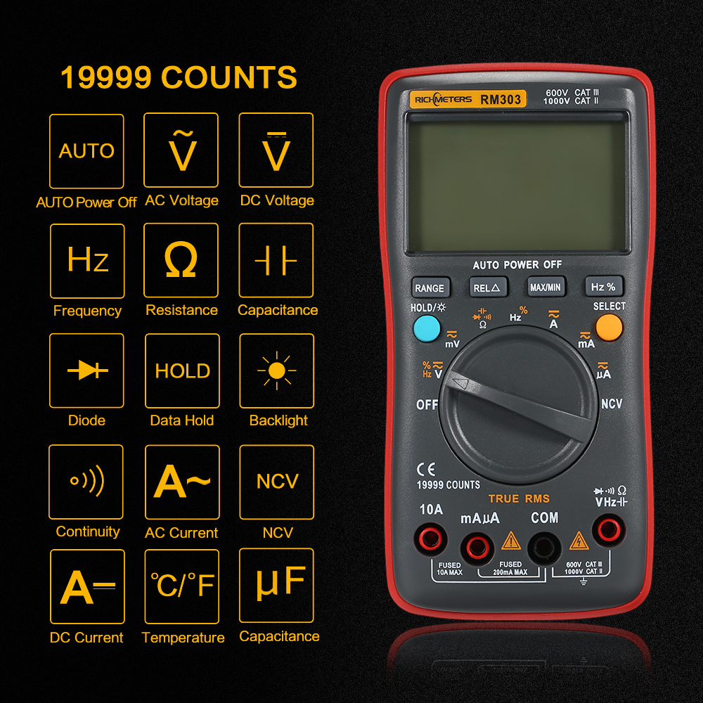 RM303 True RMS 19999 Counts Digital Multimeter tester NCV Frequency 200M Resistance Auto Power off AC DC Voltage Ammeter
