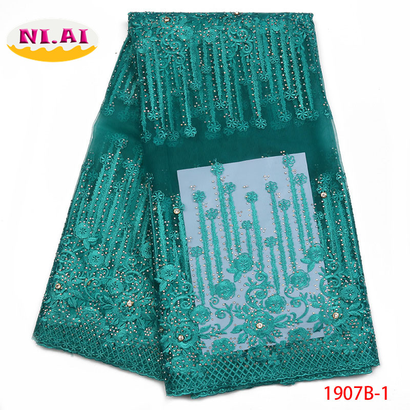 African Cord Lace Fabric 2018 High Quality Lace African Lace Fabric With Stones Teal Green Lace