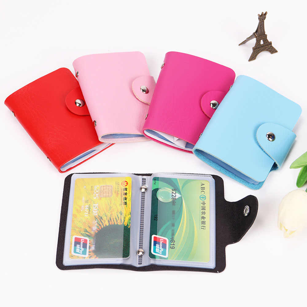 24 Card Slots Double Sided Plastic Card Holder Unisex Small Size Multicolor Business Pack Bus Card Bag Cases Men Women Wallet