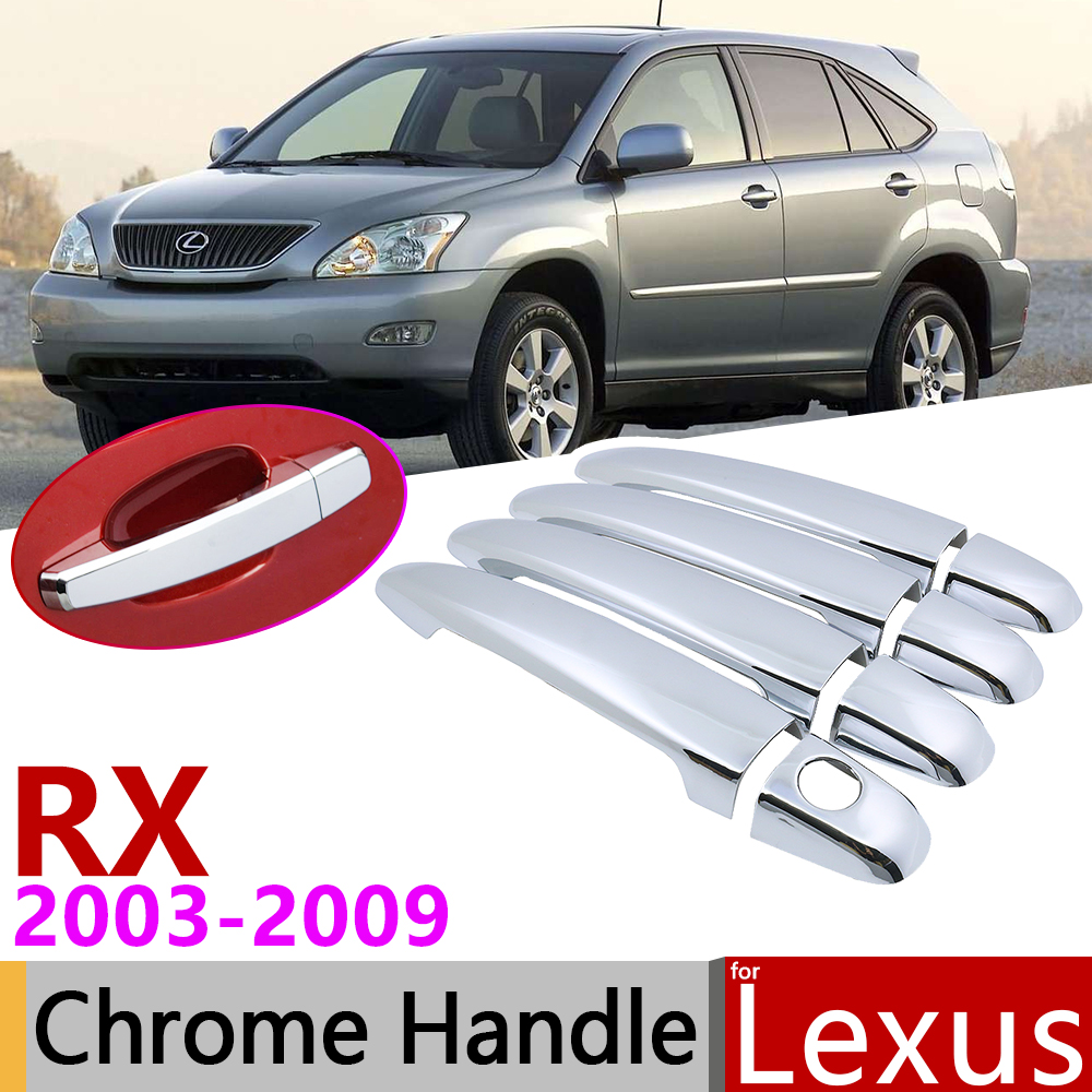 for Lexus RX XU30 2003 2009 Chrome Exterior Door Handle Cover Car Accessories Stickers Trim Set RX300 RX330 RX350 RX400h 2004
