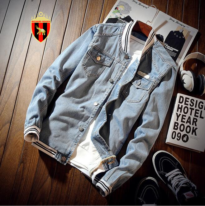 RICHARDROGER Spring Autumn Pilot Jacket Denim Mens Casual Fashion Man Bomber Baseball Ja ...