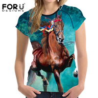 FORUDESIGNS Crazy 3D Horse Women Summer T Shirt O NecK Bodybuilding Short Sleeved Female T Shirt