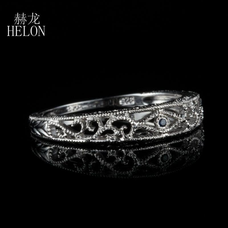HELON Sterling Silver 925 100% Genuine Sapphires Vintage Filigree Art Nouveau Antique Wedding & Anniversary Women's Jewelry Ring серьги art silver art silver ar004dwzmh30