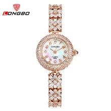LONGBO Mujeres Calientes de Oro Rosa Relojes de la Pulsera Digital relojes Con Cristales de Cuarzo Elegante Mujer Vestido de Relojes de Pulsera A Prueba de agua