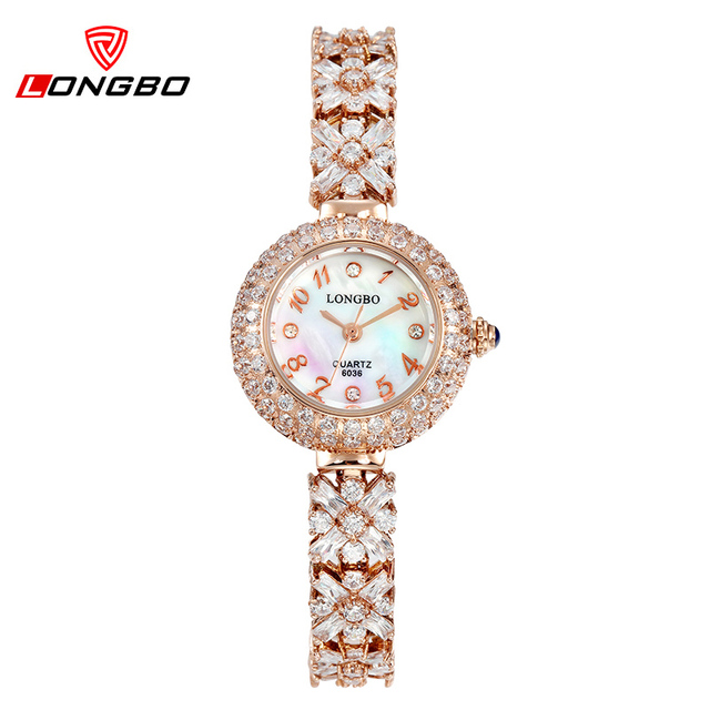 LONGBO Hot Women Rose Gold Bracelet Watches Digital Quartz watches With Crystals Elegant Female Dress Wrist Watches Waterproof