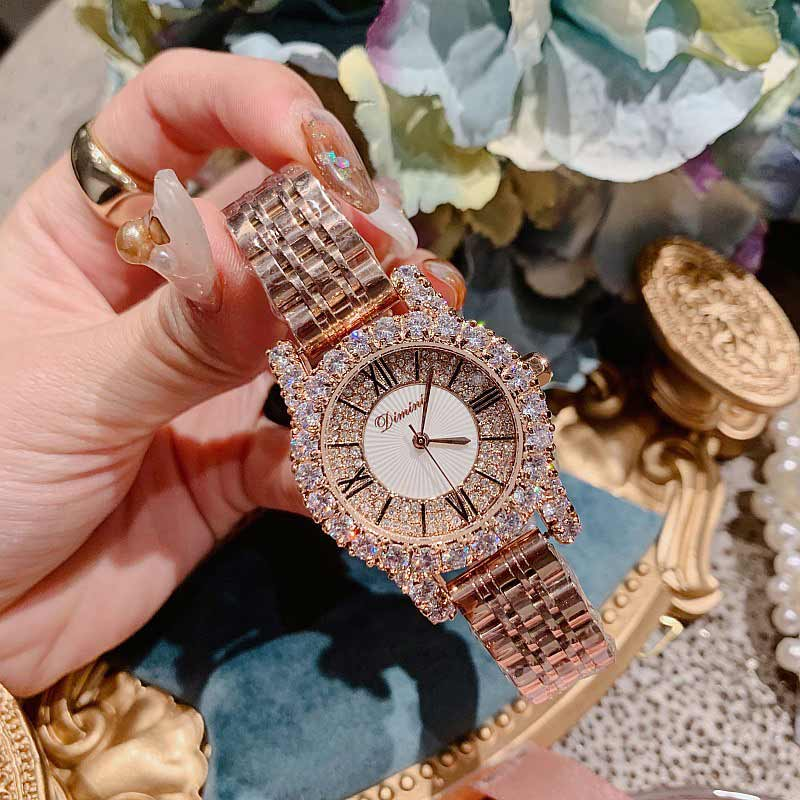 2019 Fashion Top Brand Luxury Fully Diamond Women Watches Quartz Waterproof Stainless Steel Roman Face Wrist Watches For Women