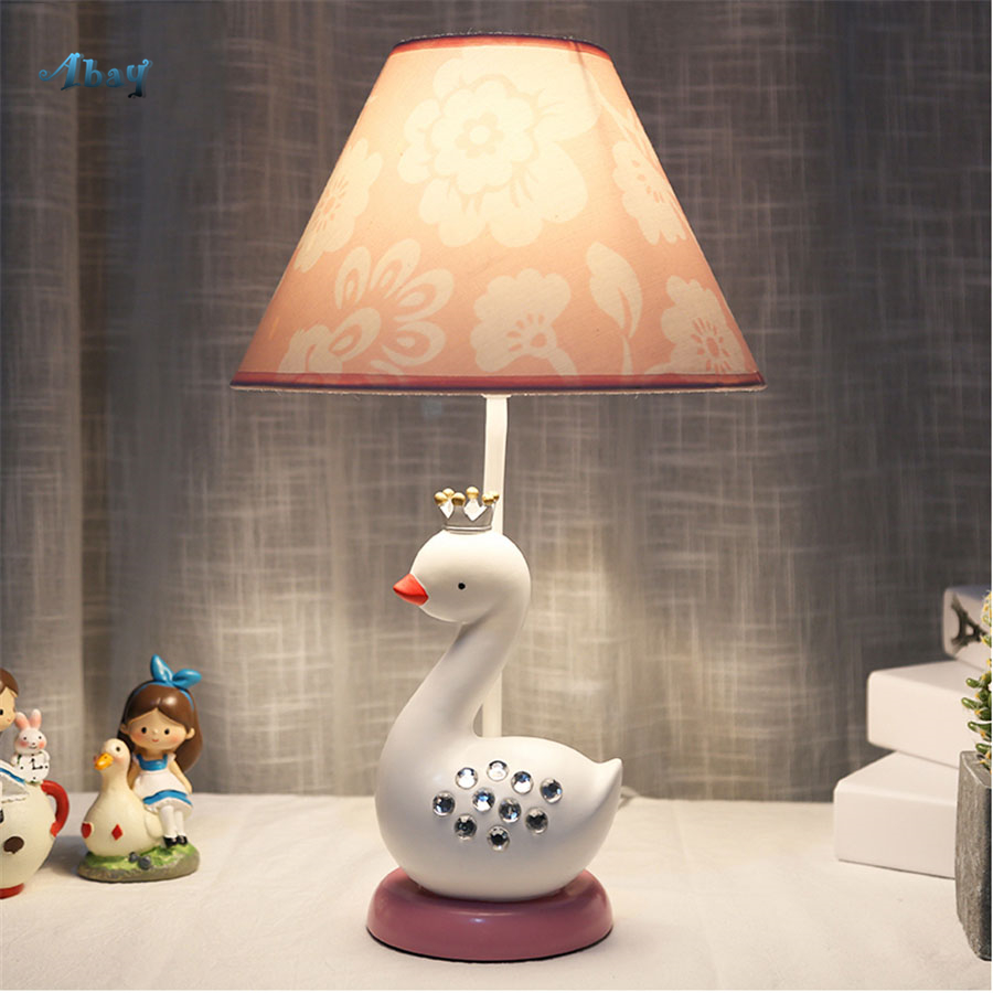 Romantic Teen Pink Princess House Table Lamps White Swan ...