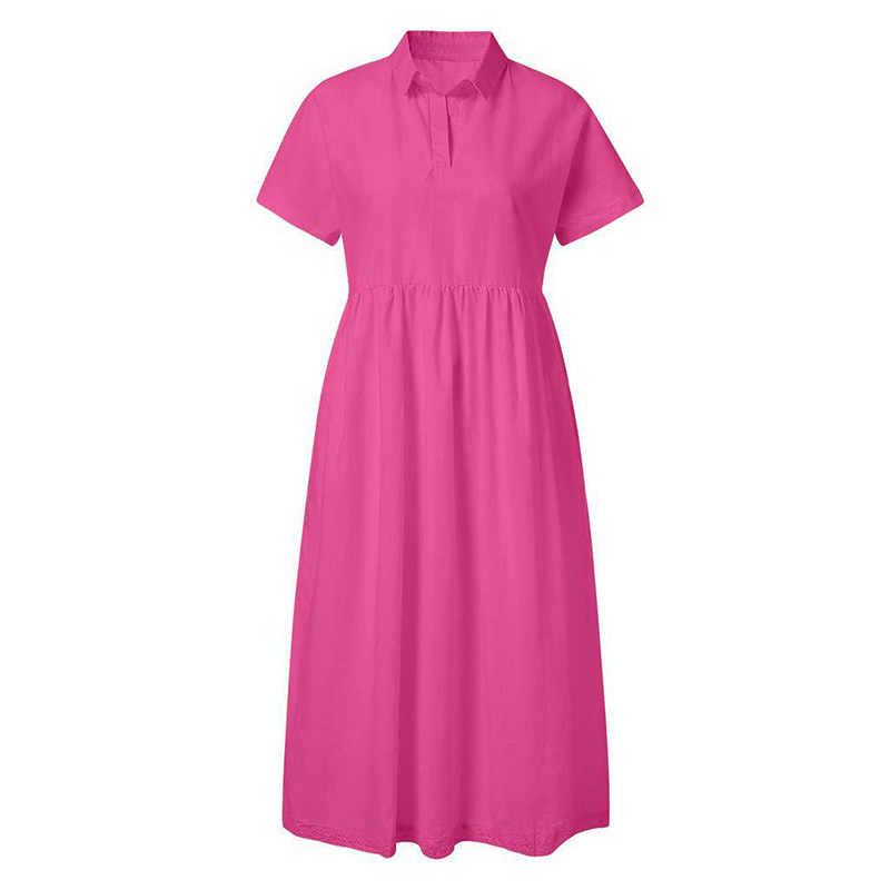 Женская с короткими рукавами однотонное платье Свободные повседневные сексуальные модные вечерние Большие размеры воротник