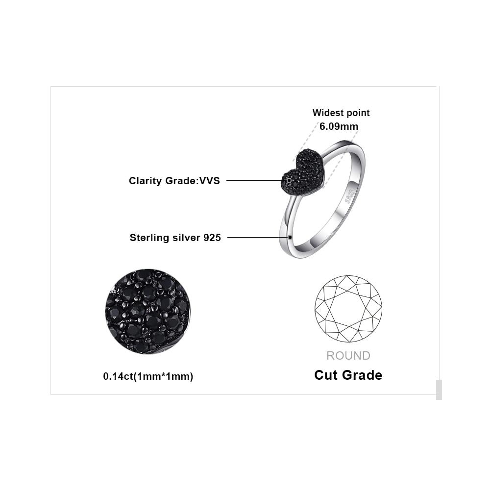 JewelryPalace Fashion Natural Black Spinel Love Heart Rings para - Joyas - foto 5