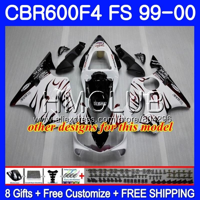 RR carroçaria Para HONDA CBR600F4 CBR600 F 4 CBR600 F4 99 00 60HM17 600F4 CBR CBR 600 FS Hot branco CBR 600 F4 blk 1999 Fairing 2000 - 3