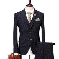 Cajerin Men S Clothing Suit Blazer Snow Spots Wedding Business Slim 3 Piece Jakcet Vest Pants