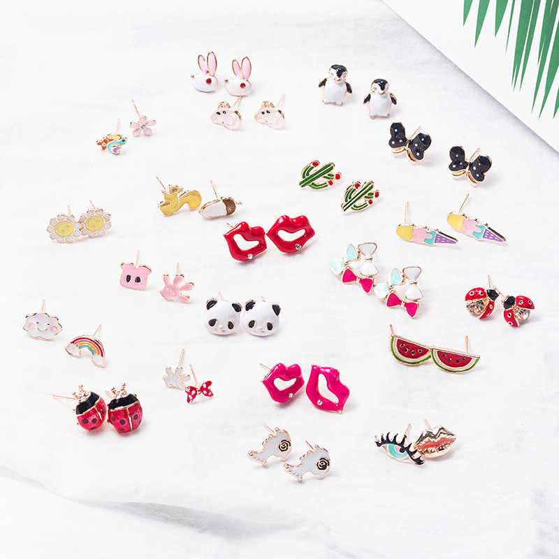 Korean Cartoon Animal Earrings for Women Cute Fruit Earings Rainbow Watermelon Ribbit Penguin Stud Earrings Ornament Oorbellen