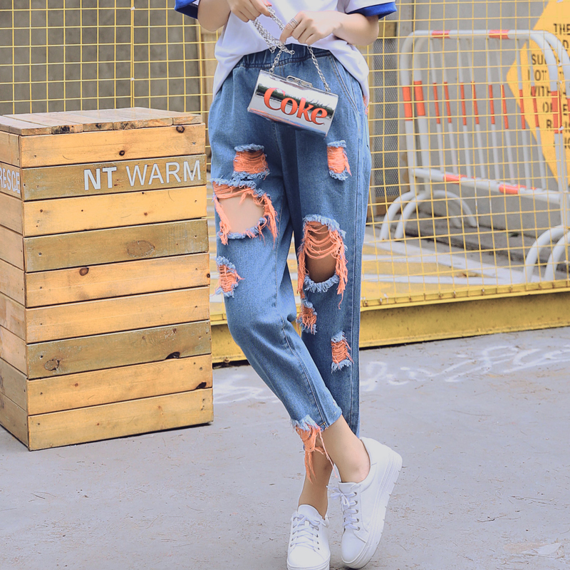 Kesebi 2017 Autumn Women Fashion Loose Big Hole Harem Pants Female Ankle-Length Pants Washed Ripped Denim Jeans JE232#1725 new summer vintage women ripped hole jeans high waist floral embroidery loose fashion ankle length women denim jeans harem pants