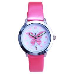Новые прибыл дети милые животные Простой дизайн кварцевые часы для мальчиков и девочек милые бабочки циферблат учиться время кожа подарок