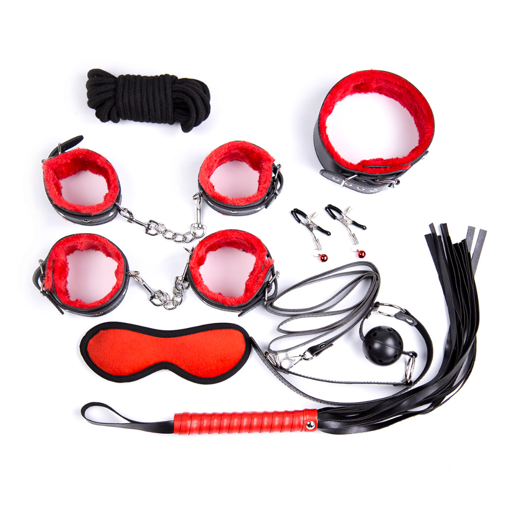 8Pcs/Kit Sexy Red Mix Black  pu Leather Bondage Set Nipple Clamps Handcuffs Collar Whip Ankle Cuffs Gag Mask Sex Game Toys
