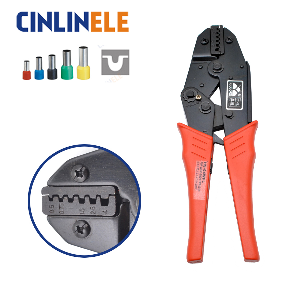 HS-04WFL 0.5 0.75 1.0 1.5 2.5 4.0 mm 20-11AWG Crimp Pliers Multi Hand Tools Tube Bootlace Terminals Crimping alicate 9 Inch