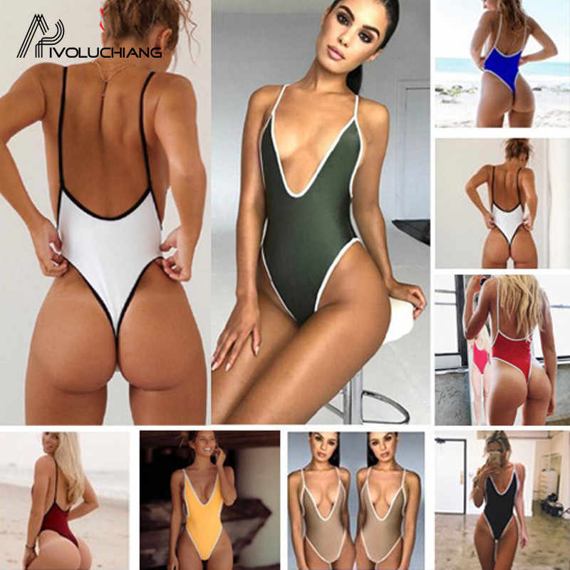 2ab99d4a091 Sexy Women Swimsuit Thong Bathing Suit Black G String Backless one ...