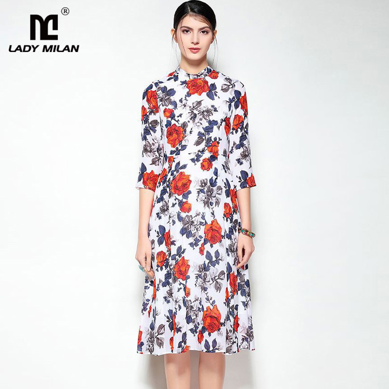 New Arrival 2018 Womens O Neck 100% Silk 3/4 Sleeves Floral Printed High Street Fashion Casual Dresses