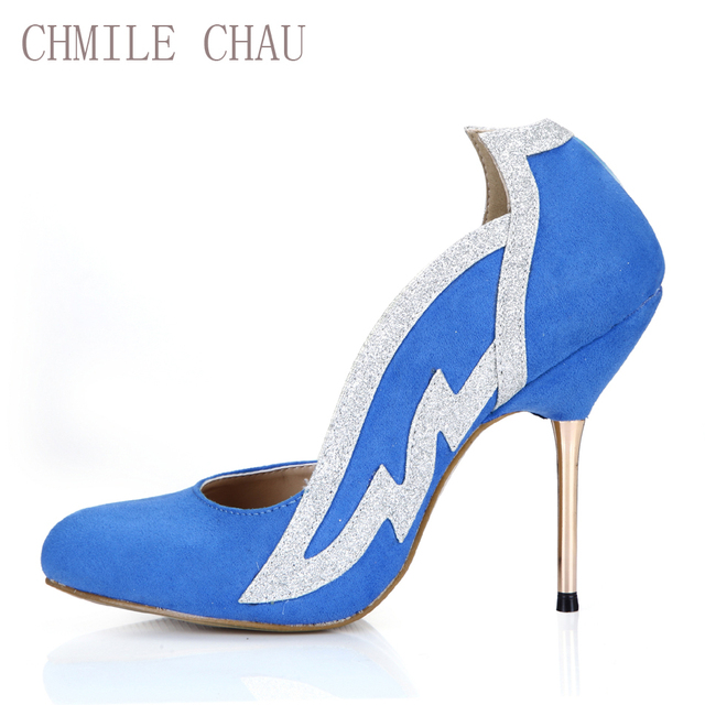 CHMILE CHAU Sexy Suede Party Women Shoes Round Toe Stiletto Thin Iron High  Heels Wing Ladies cdda7bb076d8