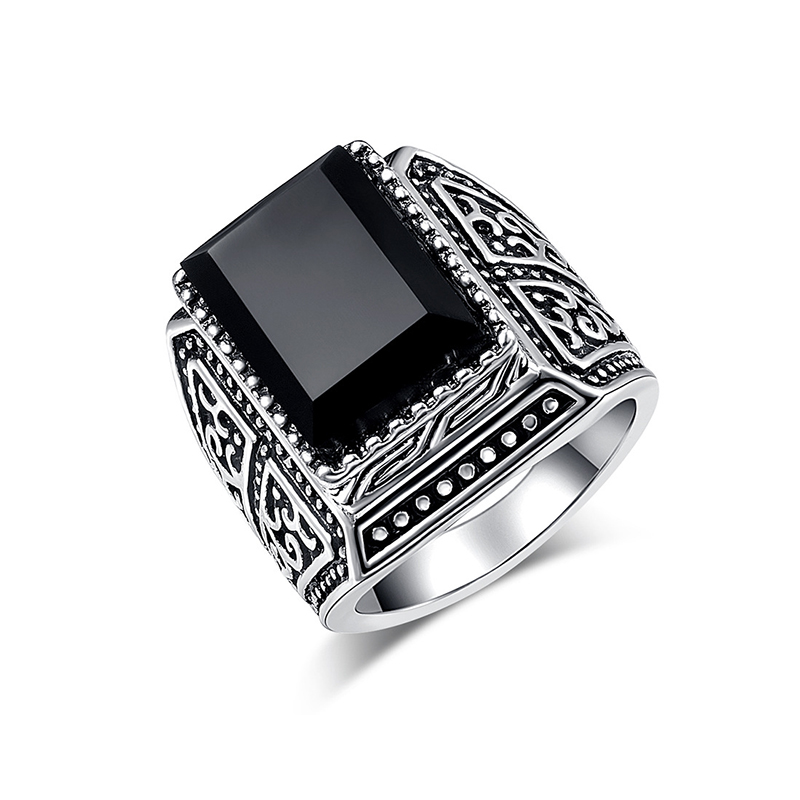 Jewelry & Accessories Antique Silver Carved Totem Square Ring Lead-free Environmental Protection Anti-allergic