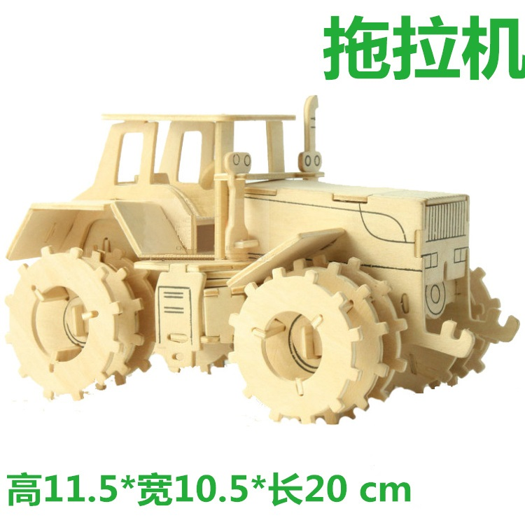 3D wooden model DIY puzzle toy baby birthday gift hand work assemble wood game Tractor car motor woodcraft construction kit 1set