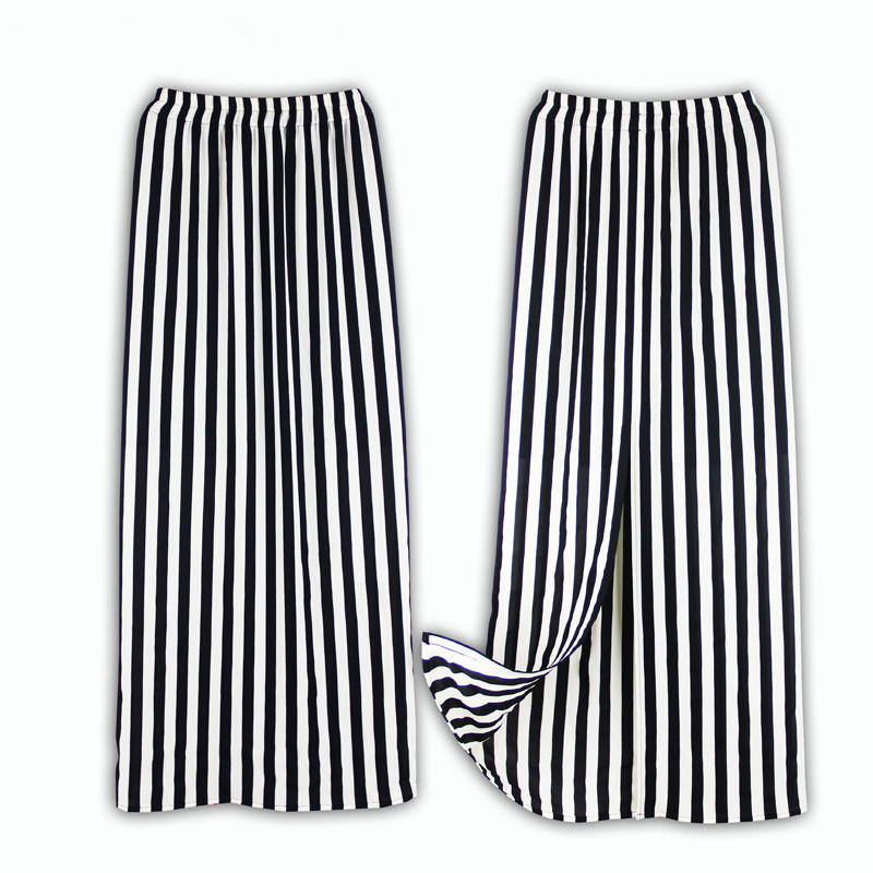 f68be195f0233 Summer Style Plus Size 3XS 8XL Chiffon Skirt Saias Women Ladies Western  Black and White Stripe Bodycon Split Straight Skirts-in Skirts from Women s  Clothing ...