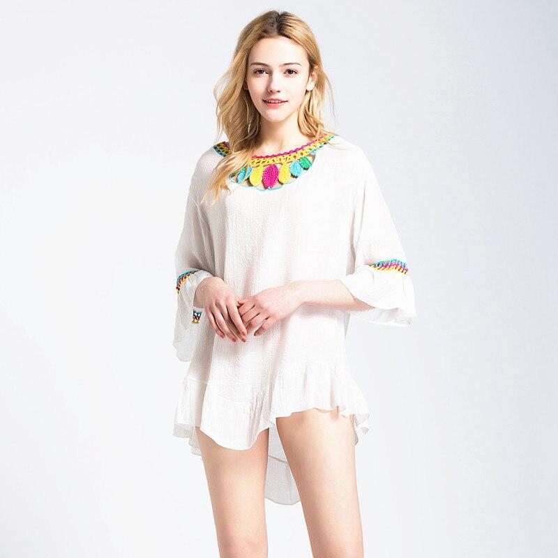 Saida De Bath Swimwear Female Robe Plage Women Beach Sarong Dress Towel Cover Ups 2018 New Knitted Color Leaves Hollow Bikinis