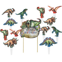 Vintage Dinosaur Cake Topper Birthday Party Decor Boy Kids Jungle Party T-Rex Velociraptor Pterosaur Egg