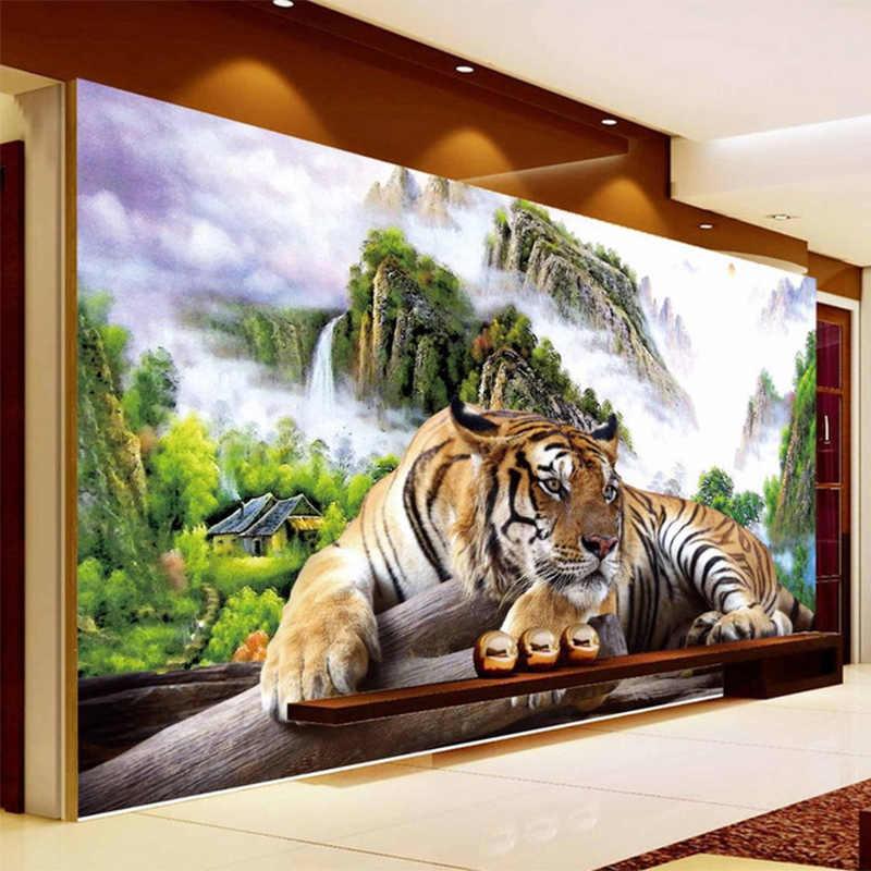 Foto Papel De Parede 3D Tigre Natureza Paisagem Mural Estilo Chinês Clássico Sala de estar Sofá TV pano de Fundo Papel de Parede Para Parede 3 D Decoração