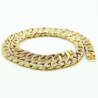 30 Inches Length Bling Hiphop Iced Out Curb Cuban Gold Color Necklace With Paved Clear Rhinestones