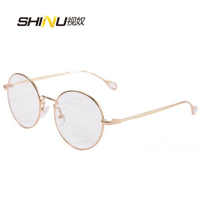 Круглые металлические оправы женщины очки мужчины круглый золотые очки кадры урожай рецепта линзы Равнина Стекло 2757