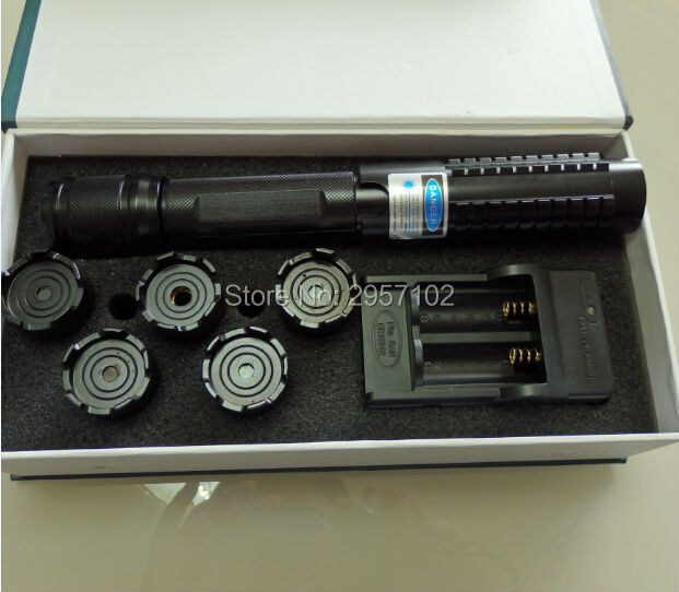High Powered 450nm 300000m Focusable Blue laser pointers Flashlight Burning Match/dry wood/candle/black/Cigarettes+5 caps+Box high power blue laser pointer 100000m 450nm laser flashlight burning match paper dry wood candle black cigarettes gift box