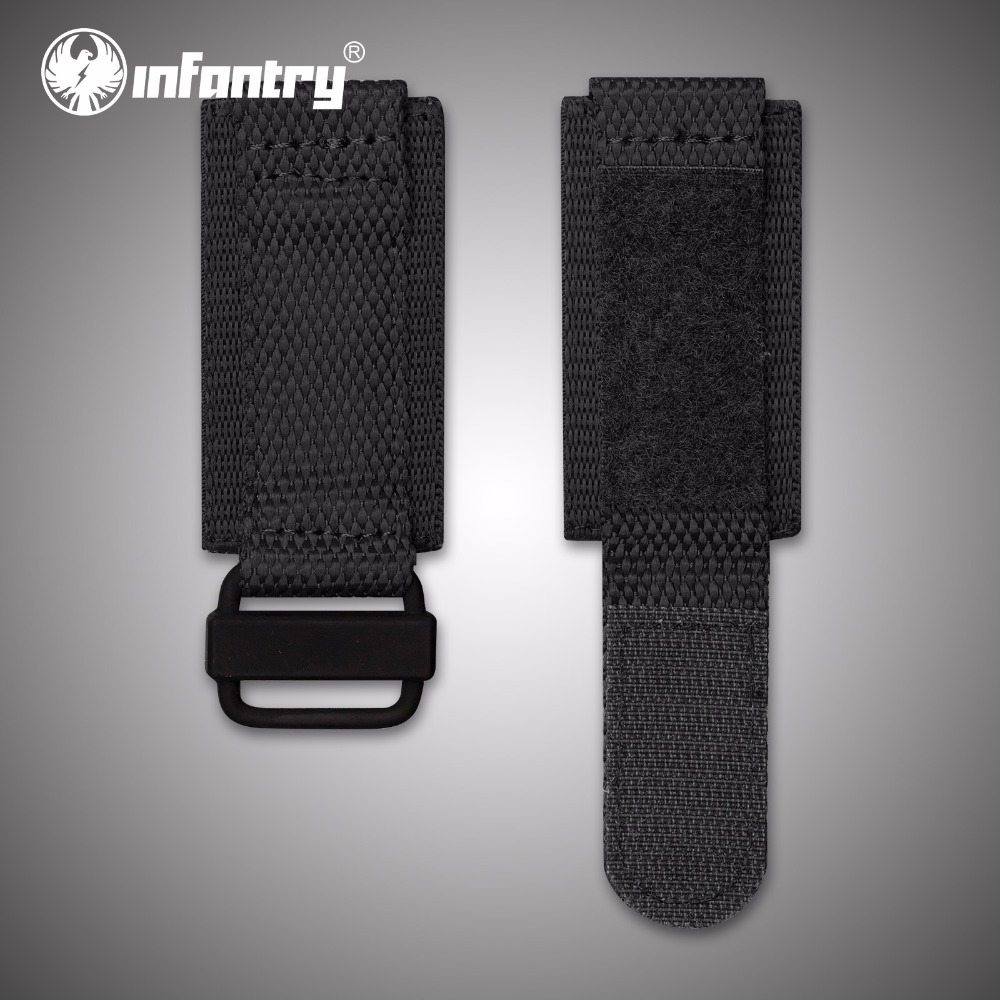 Infantry 24mm Durable Nylon Watchbands Electroplated Black Bracelet with Hook and Loop Fastener Wristwatch Strap Accessories survival nylon bracelet brown