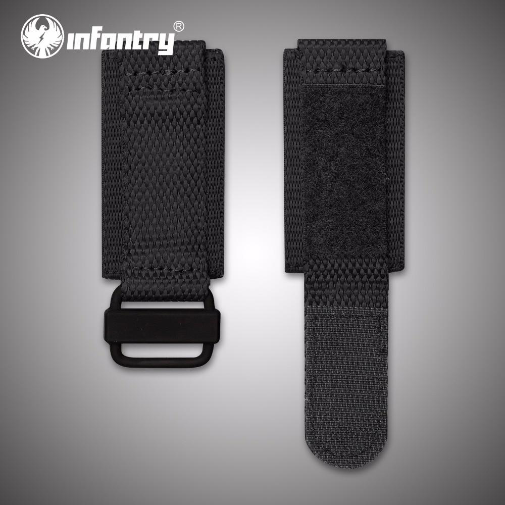 Infantry 24mm Durable Nylon Watchbands Electroplated Black Bracelet with Hook and Loop Fastener Wristwatch Strap Accessories survival nylon bracelet black