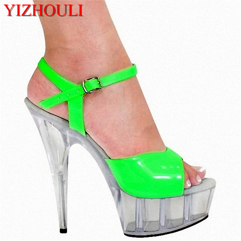 Fashion candy color 15 cm high, crystal sandals at the bottom of the stage show, a variety of color custom-madeFashion candy color 15 cm high, crystal sandals at the bottom of the stage show, a variety of color custom-made