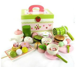 Baby Spielzeug Nachmittag Tee Kuchen Holz Spielen Nahrungsmittelset  Spielzeug Kind/Kinder Rollenspiel Lernspielzeug Holzspielzeug Weihnachten