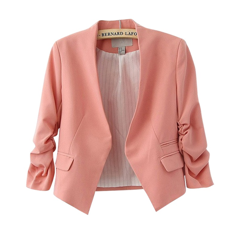 Female Puff Sleeves Blazer Candy Color V-neck Solid Color Short Suit Fashion New Trend Office Ladies Clothing