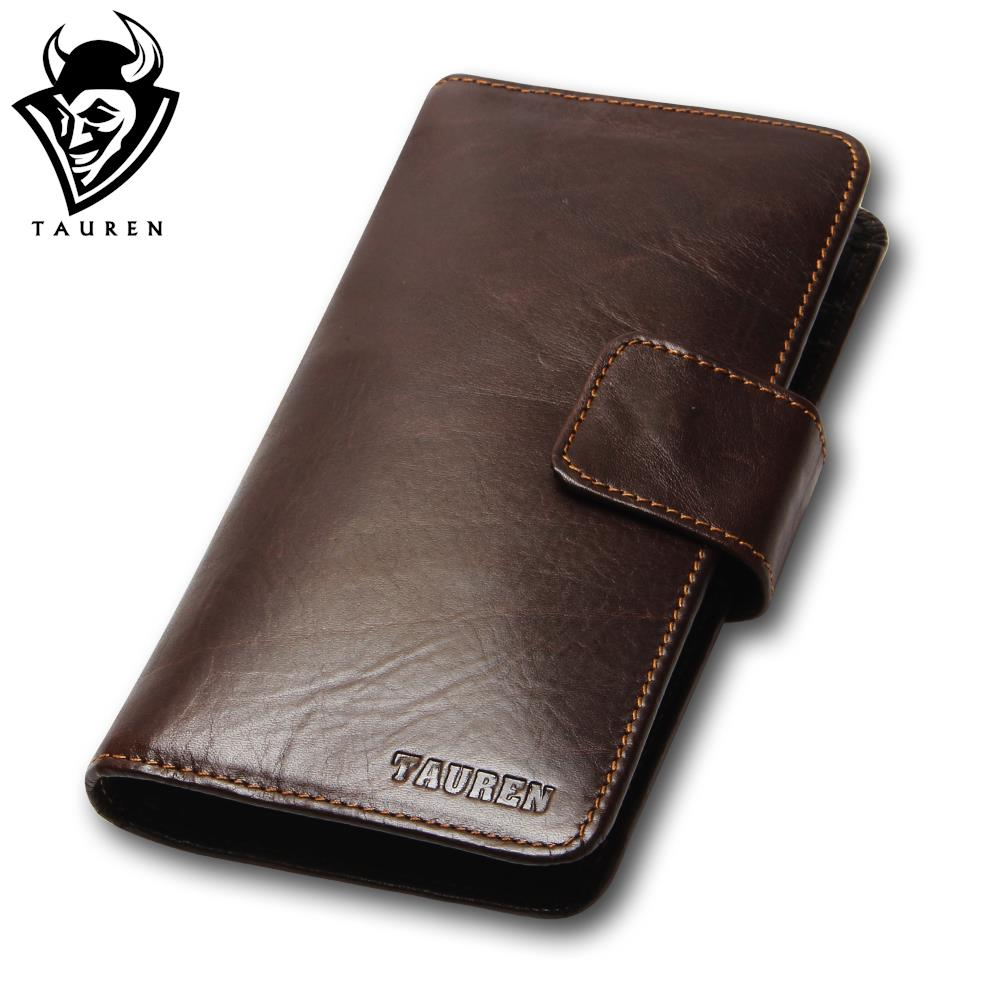 New Vintage Retro Casual Genuine Leather Oil Wax Cowhide Men Long Bifold Wallet Wallets Purse For