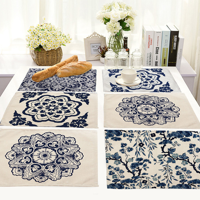 1Pc Fashion Mandalas Pattern Table Placemats For Table Set Cotton Linen  Home Kitchen Pad Coffee Tea