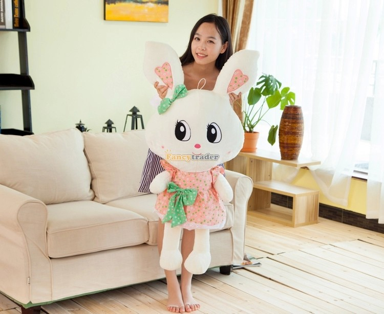 Fancytrader Fashion Rabbit Toy 1 pc 43'' 110cm Giant Plush Stuffed Rabbit Bunny with Cute Dress, 2 Colors! Free Shipping FT90541 fancytrader 150cm lovely plush soft cartoon rabbit toy stuffed giant 59 animal bunny nice lover gift