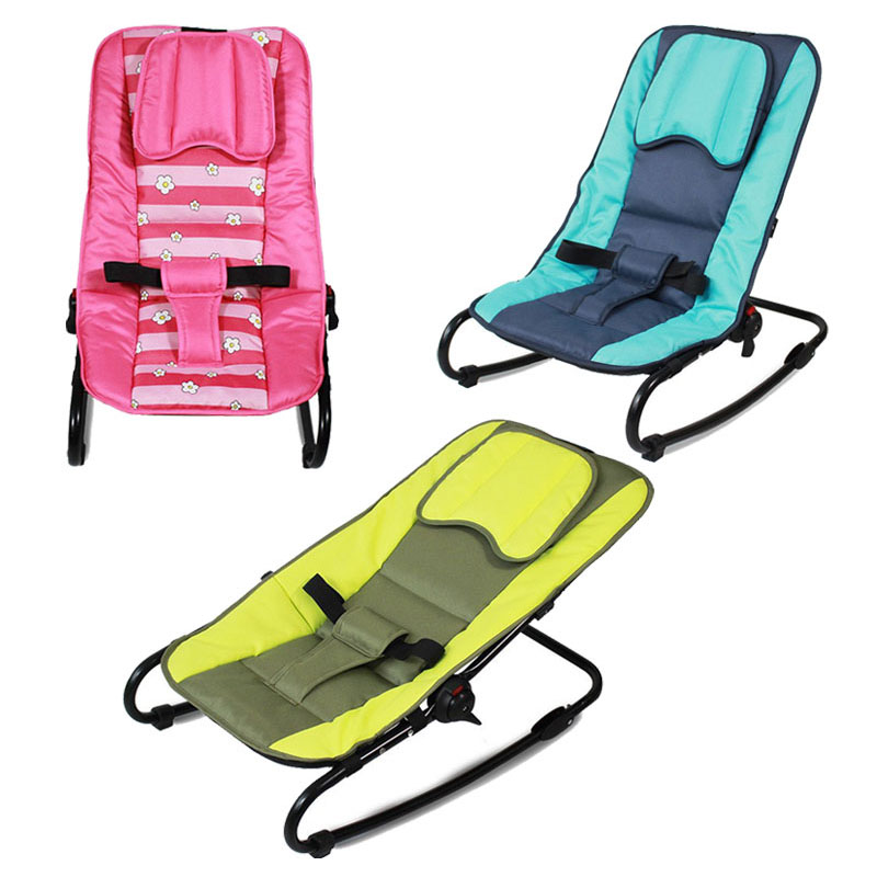 Adjustable Baby Rocking Chair Portable Folding Baby Lounge Balance Chair Swing Can Sit Lie Recliner Rocking Chair for Children