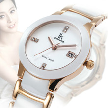 IK Women's Watch Day Quartz Crystal Ceramic Waterproof Watches Wristwatch Gift Box With Gift Box