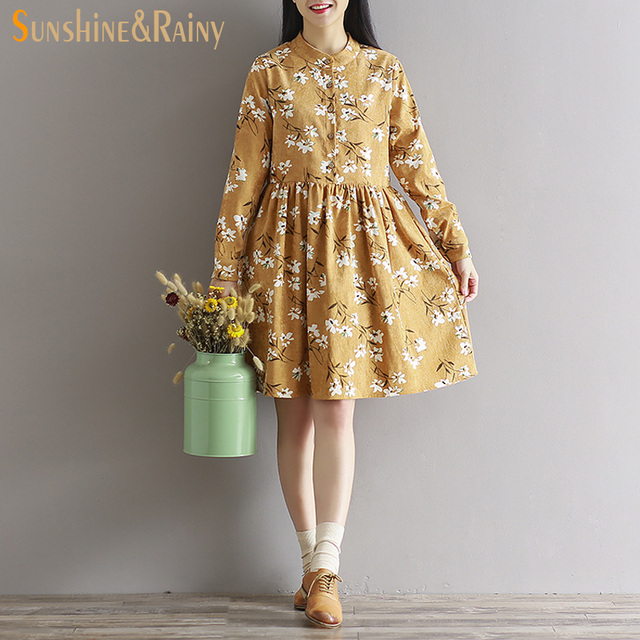 2017 Japanese autumn long sleeved autumn fall all match fashion small flowers print floral fashion corduroy woman warm dress
