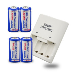 4pcs 3V 1300mAh CR123A 123A CR123 16340 rechargeable lithium battery Li-ion battery+ 1pcs CR123A / CR2 universal charger