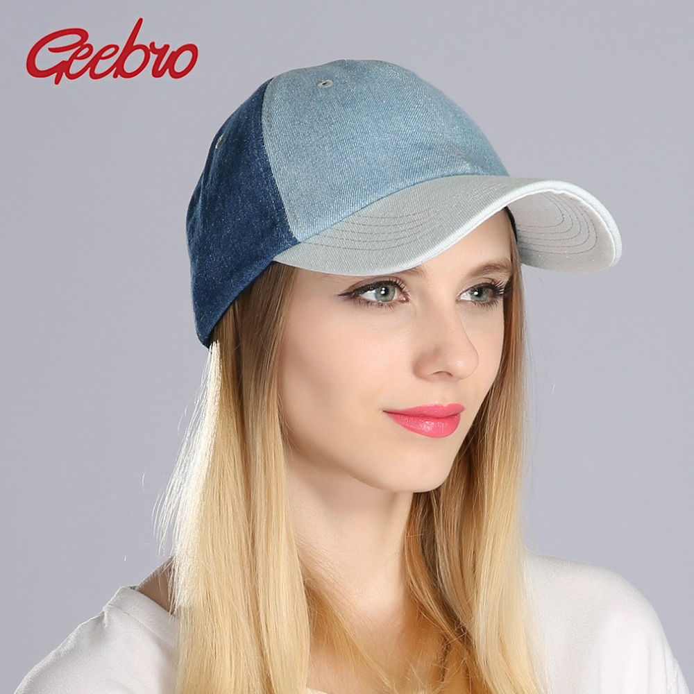 Geebro Women Denim 3 Color Patchwork   Baseball     Cap   Casual Blue Cotton Jean Snapback   Caps   For Ladies Summer Men Sport Bone Hats