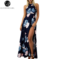 Lily Rosie Girl Women 2017 Off Shoulder Boho Halter Sleeveless Summer Maxi Dress Hollow Out Empire