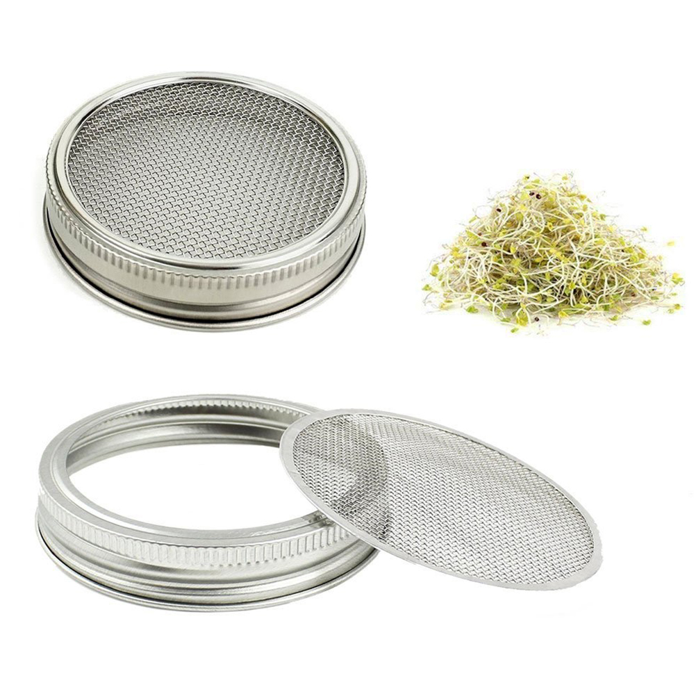 US $7 94 47% OFF|Sprouting Lids Lightweight Stainless Steel Wide Mouth  Mason Jars Strainer Lid to Making Organic Sprout Seeds in Kitchen-in Other