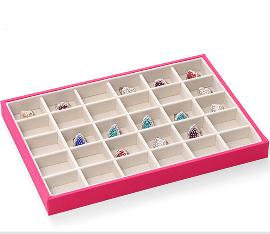 30 Grids Fashion Suede Jewelry Rings Display Organizer Jewelry Box Case Jewelry Casket Rack for Ring Earring caja 35*24*3cm