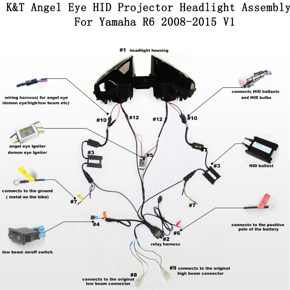 Yamaha Yzf R6 2010 Wireing Diagram 34 Wiring Images Eagle Eyes Headlights Diagrams Collection Kt Headlight For 2008 2016 Led Angel Eye Red Demon Motorcycle Hid